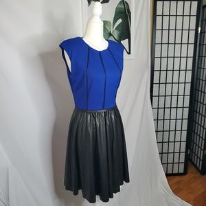 Badgley Mischka Blue Faux Leather Fit Flare Dress